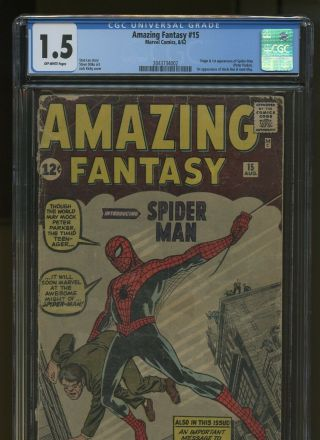 Fantasy 15 Cgc 1.  5 | Marvel 1962 | 1st App/origin Spider - Man Lee,  Ditko