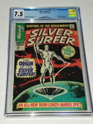 Silver Surfer 1 Cgc 7.  5 Vf - Marvel 1968 Origin Of The Silver Surfer,  Watchers