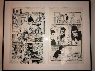 Preacher Comic Art Steve Dillon—2 Pages Framed,  Garth Ennis,  Dc Vertigo