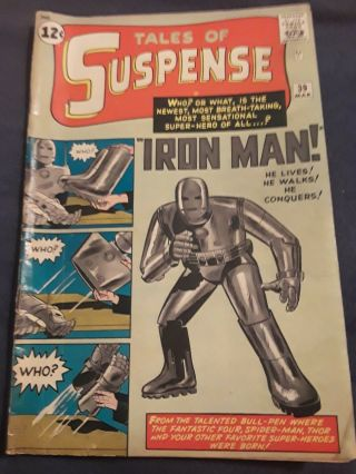 "Tales Of Suspense 39 Mar 1962 1st Appearance Of "" Iron Man "" Silver Age"