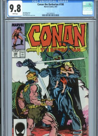Conan The Barbarian 198 Cgc 9.  8 White Pages Marvel Comics 1987