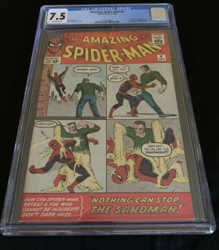 1963 Marvel Spider - Man 4; Cgc Universal 7.  5; Off - White Pages.