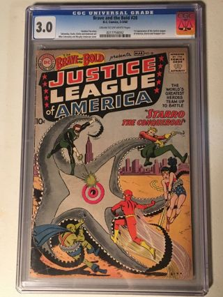 Brave And The Bold 28 Cgc 3.  0 - 1st Justice League Mega Key Movie