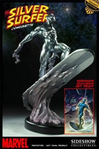 Sideshow Collectibles Silver Surfer Premium Format Statue Exclusive With Art