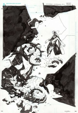Mike Mignola Monsters Unleashed 1 Variant Cover Art Marvel Hellboy