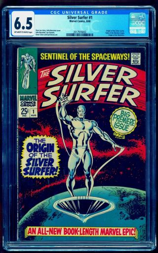 Silver Surfer 1 Cgc 6.  5 Oww Bright Colors No Marks Or Stamps Un - Pressed
