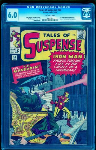Tales Of Suspense 50 Cgc 6.  0 1st First Mandarin No Marks Or Stamps