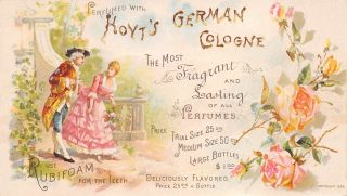 Hoyts German Cologne Victorian Couple Garden 1890 Trade Card Flowers