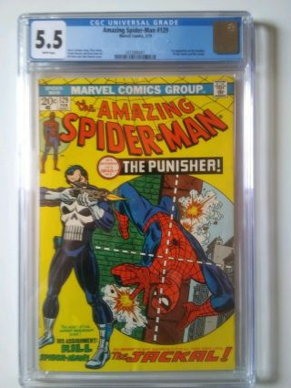 Spiderman 129 5.  5 Cgc Marvel Bronze Age Comic Book 1st Punisher