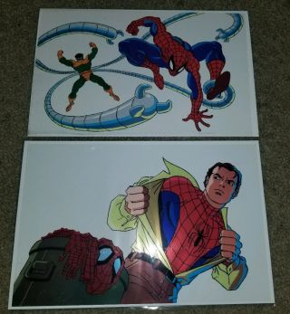 Marvel Comic Spider - Man 1 2 Production Tv Cartoon Cel Rare Htf Prints Promo Doc
