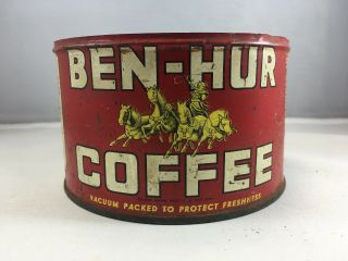 Vintage Antique Coffee Tin Can Ben - Hur Coffee 1lb Advertising Canister No Lid