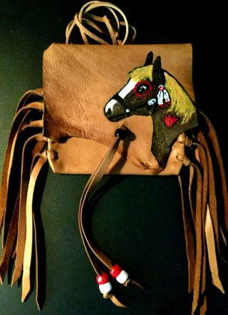 Painted Horse Lambskin Medicine Bag,  With Fringe And Pony Beads.