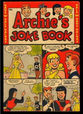 Archie's Joke Book 1 First Issue Golden Age Teen Comic 1953 Fn,