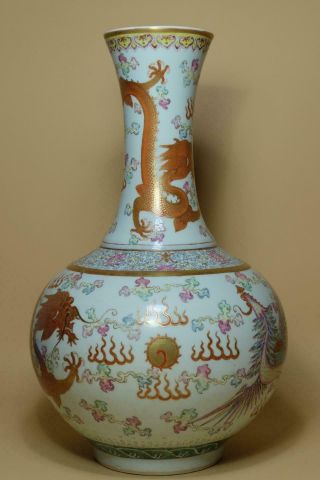 "Antique Chinese Famille Rose "" Dragon And Phoenix "" Vase."