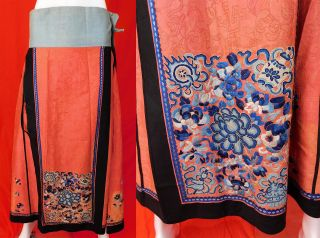 Antique Chinese Cinnabar Cut Silk Forbidden Stitch Embroidery Han Wedding Skirt