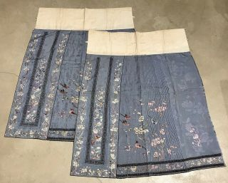 Antique Chinese Hand Embroidered Skirt Panels Damask Silk Birds Cherry Blossom