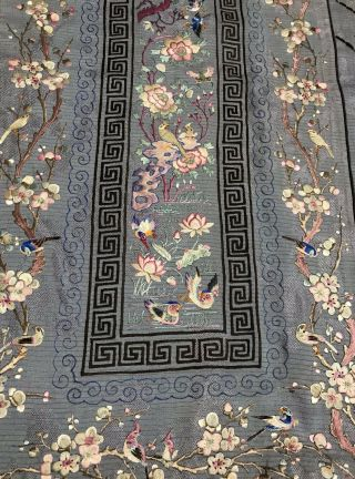 Antique Chinese Hand Embroidered Skirt Panels Damask Silk Birds Cherry Blossom 2