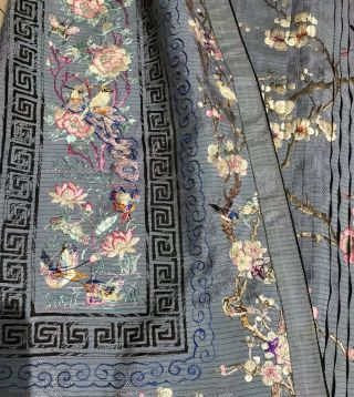 Antique Chinese Hand Embroidered Skirt Panels Damask Silk Birds Cherry Blossom 3