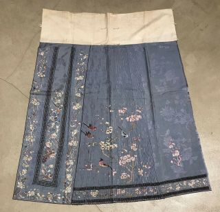 Antique Chinese Hand Embroidered Skirt Panels Damask Silk Birds Cherry Blossom 4