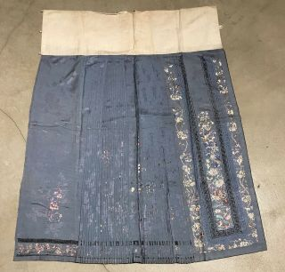Antique Chinese Hand Embroidered Skirt Panels Damask Silk Birds Cherry Blossom 5