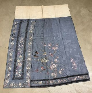 Antique Chinese Hand Embroidered Skirt Panels Damask Silk Birds Cherry Blossom 6