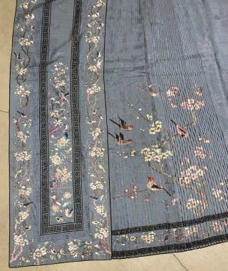 Antique Chinese Hand Embroidered Skirt Panels Damask Silk Birds Cherry Blossom 7