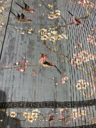 Antique Chinese Hand Embroidered Skirt Panels Damask Silk Birds Cherry Blossom 8
