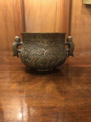 Chinese Antique/vintage Bronze Censer With Wonderful Carvings Of Dragon & Qilin