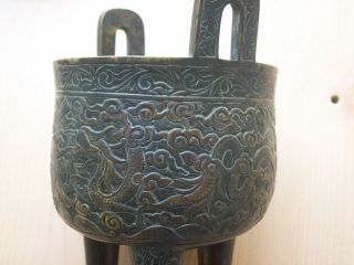 CHINESE BRONZE DING TRIPOD CENSER MING DRAGON DECORATION 5