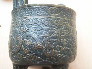 CHINESE BRONZE DING TRIPOD CENSER MING DRAGON DECORATION 7