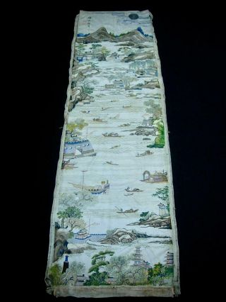Fine Rare Antique Chinese Embroidered Silk Panel Of
