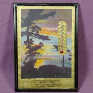 """Vintage Thermometer Advertising Piece - Frame 5 """" X 7 """" Coal Gasoline Lumber"""
