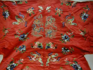 Antique Chinese Embroid Red Silk Robe - Many Bats & Forbidden Stitch Peonies 10