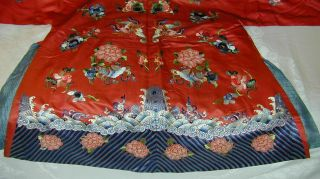 Antique Chinese Embroid Red Silk Robe - Many Bats & Forbidden Stitch Peonies 11