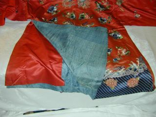 Antique Chinese Embroid Red Silk Robe - Many Bats & Forbidden Stitch Peonies 12
