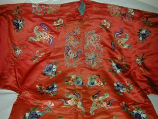 Antique Chinese Embroid Red Silk Robe - Many Bats & Forbidden Stitch Peonies 2