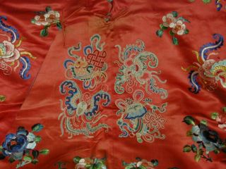 Antique Chinese Embroid Red Silk Robe - Many Bats & Forbidden Stitch Peonies 3