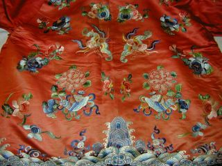 Antique Chinese Embroid Red Silk Robe - Many Bats & Forbidden Stitch Peonies 4