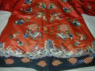 Antique Chinese Embroid Red Silk Robe - Many Bats & Forbidden Stitch Peonies 5