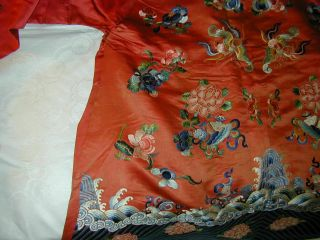 Antique Chinese Embroid Red Silk Robe - Many Bats & Forbidden Stitch Peonies 6