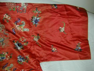 Antique Chinese Embroid Red Silk Robe - Many Bats & Forbidden Stitch Peonies 7