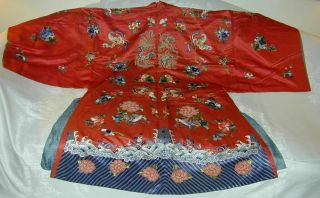 Antique Chinese Embroid Red Silk Robe - Many Bats & Forbidden Stitch Peonies 9
