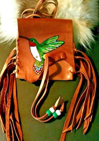 Hummingbird Hand Painted Lambskin Medicine Bag,  With Fringe And Pony Beads.