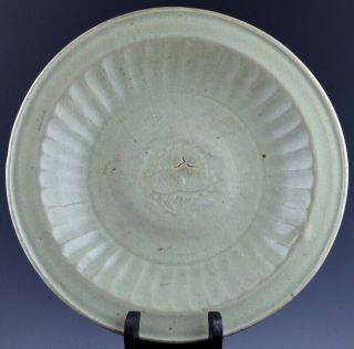 Rare 14/15thc Chinese Ming Dynasty Longquan Celadon Glazed Carved Lotus Plate