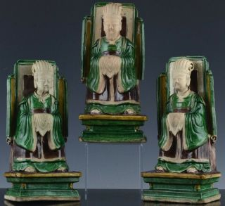 3 Extremely Rare Chinese Sancai Glazed Daoist Immortal Figures Ming To Kangxi