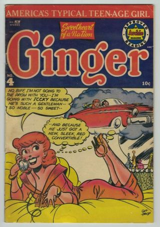 Ginger No.  4 Golden Age Comic Book 1952 Gga 4 Archie Teen Good Girl