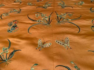 A Rare Chinese Qing Dynasty Embroidered Butterfly Silk Robe. 11
