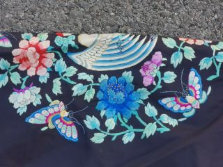 A antique embroidered blue silk Chinese robe textile 10