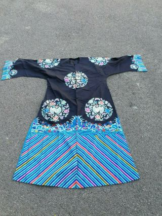 A Antique Embroidered Blue Silk Chinese Robe Textile