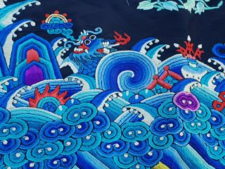 A antique embroidered blue silk Chinese robe textile 4